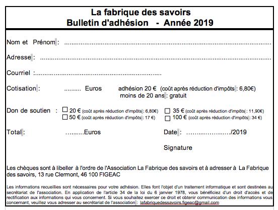 Bulletin d adehsion 2019