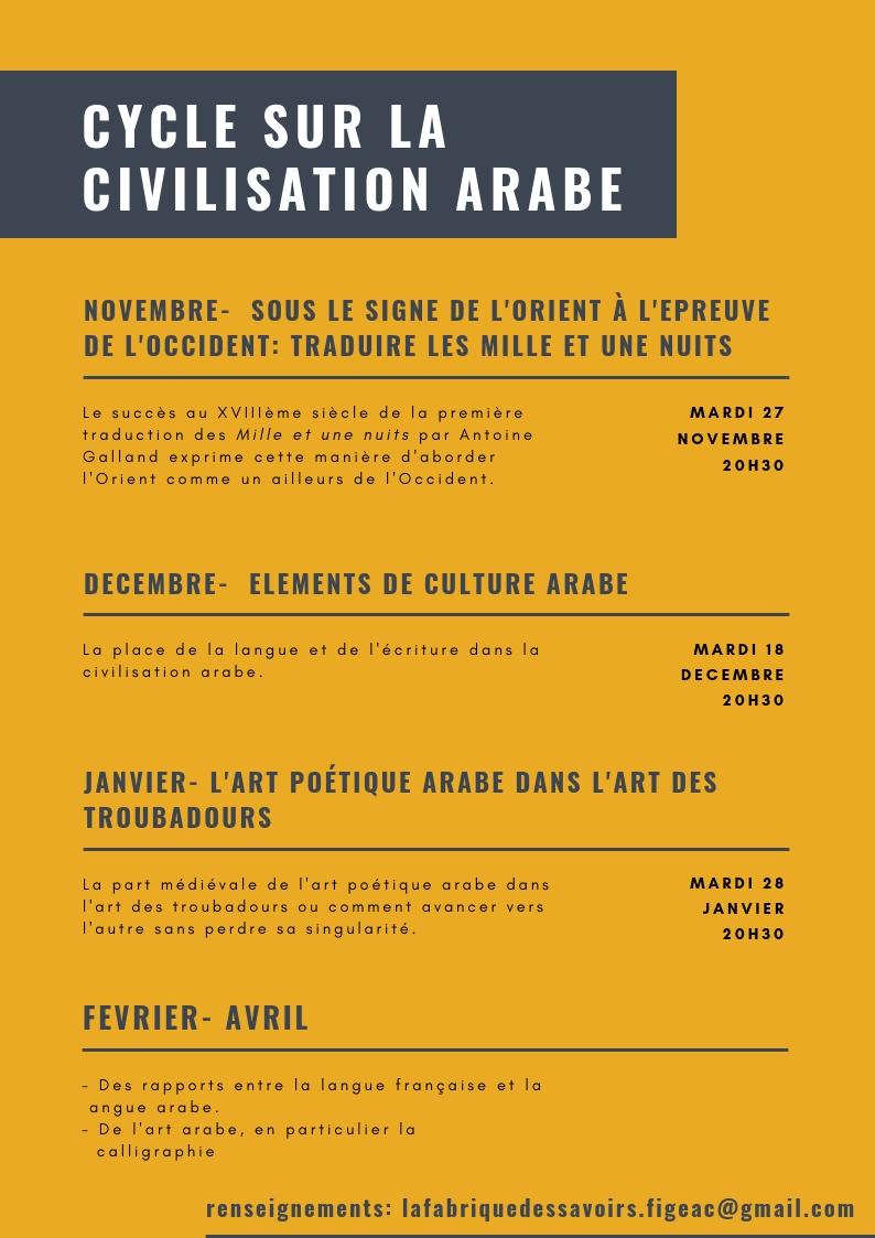 Flyer civilisation arabe verso